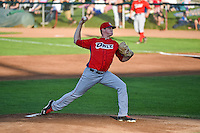 Orem Owlz starting pitcher Grayson Long (41) delivers a pitch to the plate against the Ogden Raptors in Pioneer League action at Lindquist Field on August 28, 2015 in Ogden, Utah. Ogden defeated Orem 14-6. (Stephen Smith/Four Seam Images)