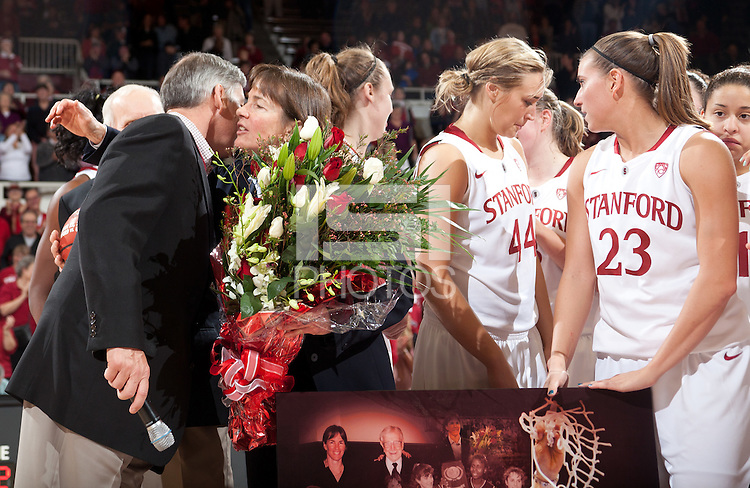 STANFORD, CA - January 8, 2011: The Stanford Cardinal women's basketball team with Athletic Director Bob Bowlsby during Coach Tara VanDerveer's 800th career win celebration after Stanford's game against Arizona State at Maples Pavilion. Stanford won 82-35.