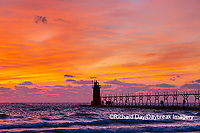 64795-02706 South Haven Lighthouse at sunset South Haven,  MI