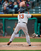 Max Stassi (13) of the Fresno Grizzlies at bat against the Salt Lake Bees in Pacific Coast League action at Smith's Ballpark on April 17, 2017 in Salt Lake City, Utah. The Bees defeated the Grizzlies 6-2. (Stephen Smith/Four Seam Images)
