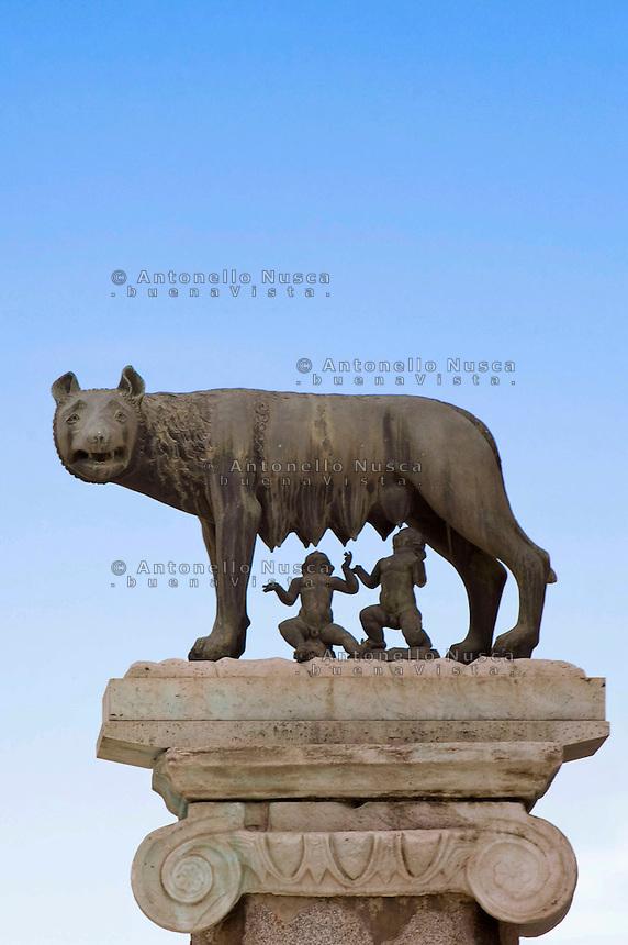 The Statue of female wolf feeding little children,that  is the Roman legend and symbol of the Rome. La statua della lupa simbolo di Roma