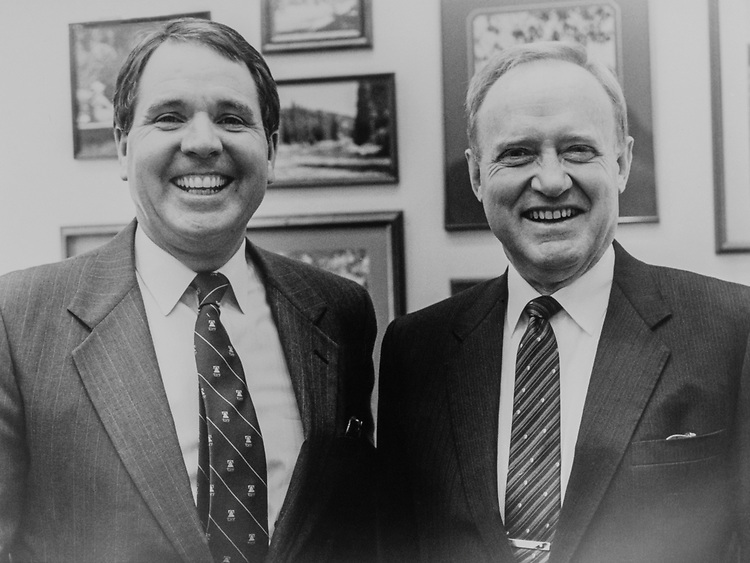 Sen. Steve Symms, R-Idaho, and Sen. James A. McClure, R-Idaho, in 1983 (Photo by Stephen Rosenberg/ CQ Roll Call)