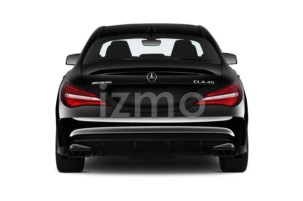 Straight rear view of 2019 Mercedes Benz CLA-Coupe 45-AMG 4 Door Sedan Rear View  stock images