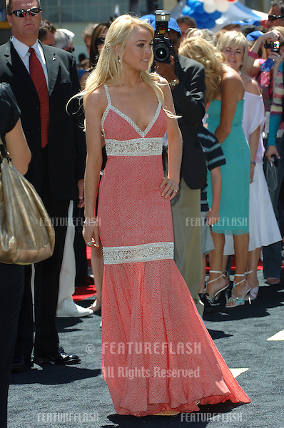 Actress LINDSAY LOHAN at the world premiere, on Hollywood Boulevard, of her new movie Walt Disney Pictures' Herbie: Fully Loaded..June 19, 2005 Los Angeles, CA.© 2005 Paul Smith / Featureflash