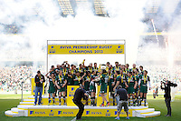 Leicester Tigers lift the trophy as they celebrate winning the the Aviva Premiership Final between Leicester Tigers and Northampton Saints at Twickenham Stadium on Saturday 25th May 2013 (Photo by Rob Munro)