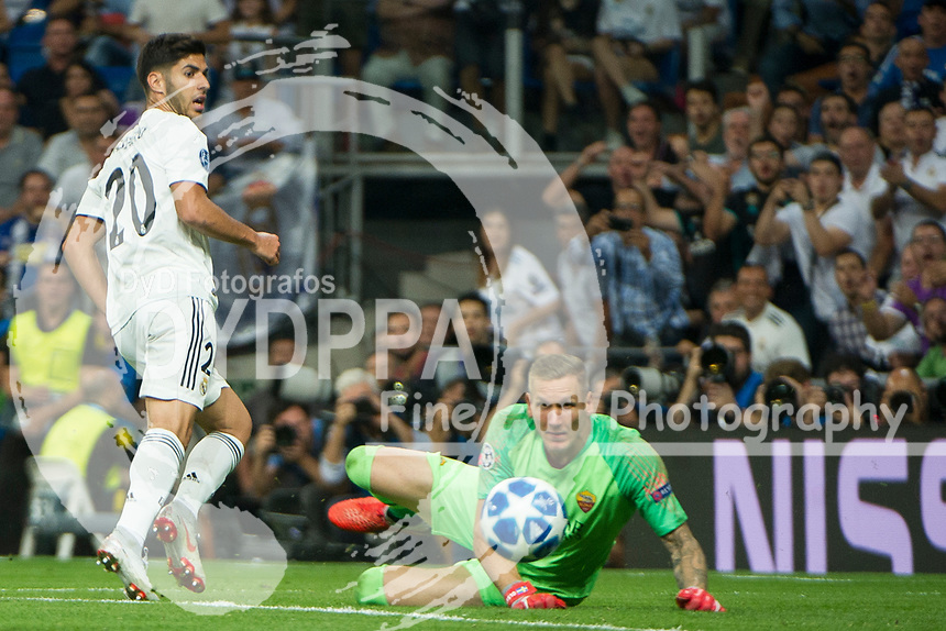 Uefa Champions League football match Real Madrid vs AS Roma at the Santiago Bernabeu stadium in Madrid on September 19, 2018.<br /> <br /> Marco Asensio; Robin Olsen