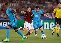 Calcio, Champions League, Gruppo E: Roma vs Barcellona. Roma, stadio Olimpico, 16 settembre 2015.<br /> FC Barcelona&rsquo;s Lionel Messi, right, is challenged by Roma&rsquo;s Kostas Manolas during a Champions League, Group E football match between Roma and FC Barcelona, at Rome's Olympic stadium, 16 September 2015.<br /> UPDATE IMAGES PRESS/Isabella Bonotto