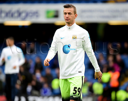21.02.2016. Stamford Bridge, London, England. Emirates FA Cup 5th Round. Chelsea versus Manchester City. Bersant Ceina warms up pre game
