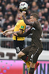 01.12.2018,  GER; 2. FBL, FC St. Pauli vs SG Dynamo Dresden ,DFL REGULATIONS PROHIBIT ANY USE OF PHOTOGRAPHS AS IMAGE SEQUENCES AND/OR QUASI-VIDEO, im Bild Baris Atik (Dresden #28) versucht sich gegen Philipp Ziereis (Pauli #04) durchzusetzen Foto © nordphoto / Witke *** Local Caption ***