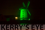 The windmill in Blennerville turning greeen to celebrate St Patricks Day