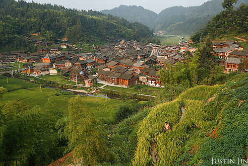 Overview of Dimen, a remote mountain village in Guizhou Province, China.