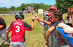 TORRINGTON, CT - 04 JULY 2020 - 070420JW02.jpg --  Torrington Little League Reds #3 Liam Lariccia gets an air fist bump after his at bat against the Brewers during opening day of play at Torrington Middle school's Colangelo Fields Saturday afternoon. Jonathan Wilcox Republican-American