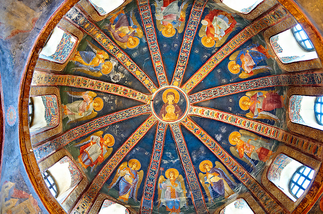 The 11th century Roman Byzantine Church of the Holy Saviour in Chora and the fresco in the dome of the parecclesion of the Virgin Mary and twelve angels .Endowed between 1315-1321 by the powerful Byzantine statesman and humanist  Theodore Metochites. Kariye Museum  Istanbul