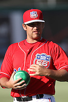 Max Russell #61 of the Inland Empire 66'ers warms up before pitching against the Lake Elsinore Storm at San Manuel Stadium on July 15, 2012 in San Bernardino, California. Inland Empire defeated Lake Elsinore 4-3. (Larry Goren/Four Seam Images)