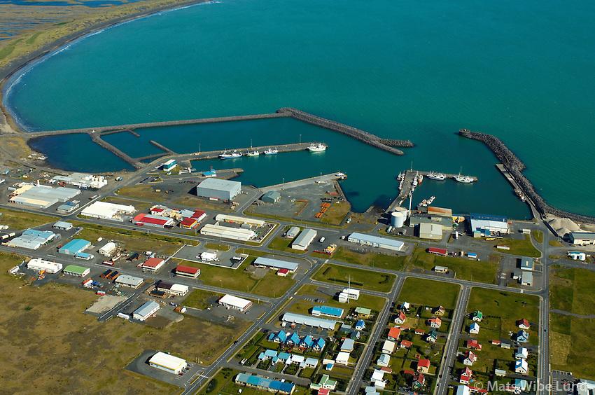 Þorlákshöfn séð til norðurs, Ölfushreppur / Thorlakshofn viewing north, Olfushreppur. .#.Nýtt nafn:  Sveitarfélagið Ölfus  /  New name of the municipality: Sveitarfelagid Olfus.
