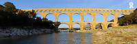 France, Gard, panoramic view of Pont du Gard aqueduct (Licence this image exclusively with Getty: http://www.gettyimages.com/detail/200553561-001 )