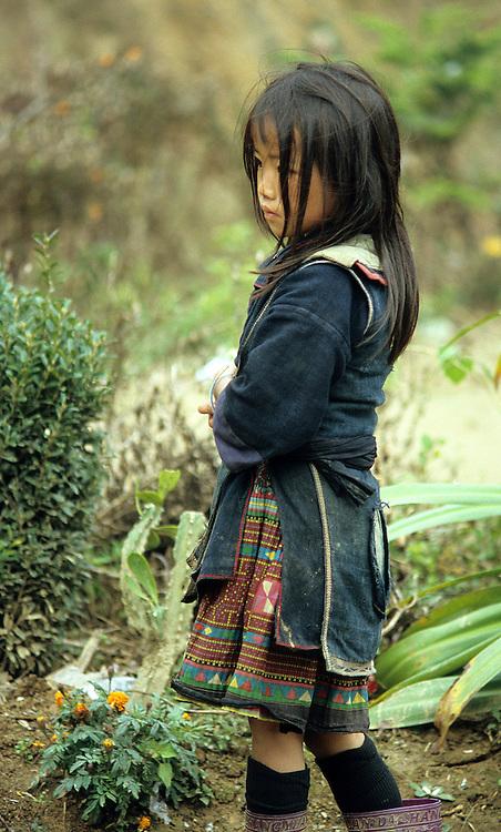 Black Hmong Girl - Traditionally dressed young Black Hmong girl, Sapa, NW Viet Nam