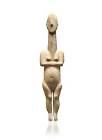 Cycladic statue figurine of the naturalistic 'Plastira' type of Paros from Glypha cemetery, grave 23, Cat no 4762. Early Cycladic Period I (Grotta-Pelos Phase 3200-2800 BC). National Archaeological Museum, Athens.   White background.<br /> <br /> <br /> This type of Cycladic figurine stand with feet lat to the ground with detailed facial features and ears to make a more realistic statue.