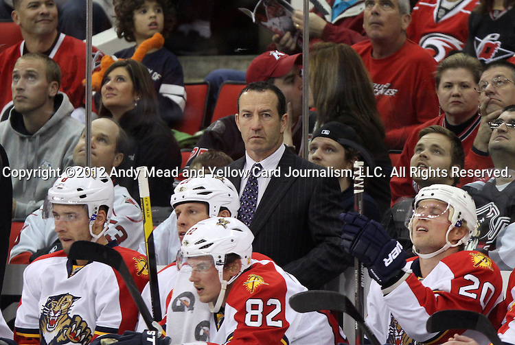 25 February 2012: Florida head coach Kevin Dineen. The Carolina Hurricanes played the Florida Panthers at the RBC Center in Raleigh, North Carolina in a 2011-2012 National Hockey League regular season opening game.