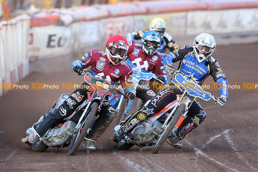 Heat 3: Adam Shields (red), Mads Korneliussen (white), Kauko Nieminen (blue). and Oliver Allen - Lakeside Hammers vs King's Lynn Stars - Elite League Speedway at Arena Essex Raceway - 21/05/11 - MANDATORY CREDIT: Gavin Ellis/TGSPHOTO - Self billing applies where appropriate - Tel: 0845 094 6026