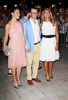 Crown Princess Victoria of Sweden with Prince Daniel, and Princess Madeleine  attend a Cocktail Party at The Poseidonion Hotel, in Spetses, Greece, on the eve of the Wedding of Prince Nikolaos of Greece to Tatiana Blatnik.