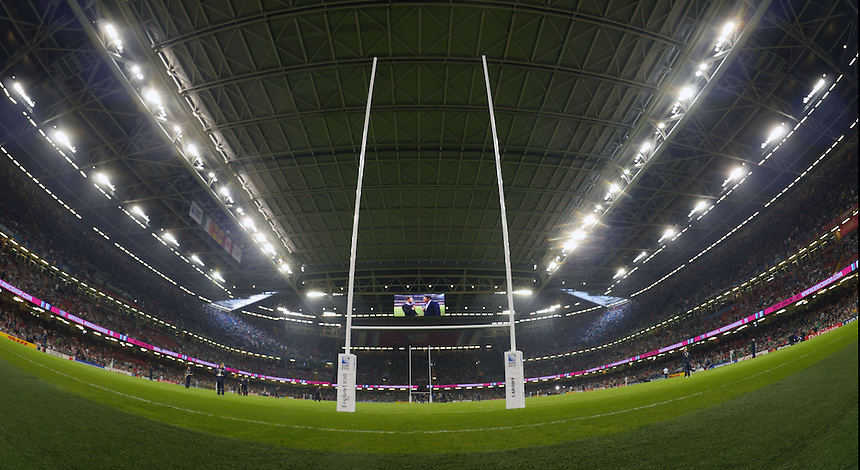 A general view of Millennium Stadium, home of the WRU , <br /> <br /> Photographer Ian Cook/CameraSport<br /> <br /> Rugby Union - 2015 Rugby World Cup - Canada v Ireland - Saturday 19th September 2015 - Millennium Stadium - Cardiff<br /> <br /> &copy; CameraSport - 43 Linden Ave. Countesthorpe. Leicester. England. LE8 5PG - Tel: +44 (0) 116 277 4147 - admin@camerasport.com - www.camerasport.com