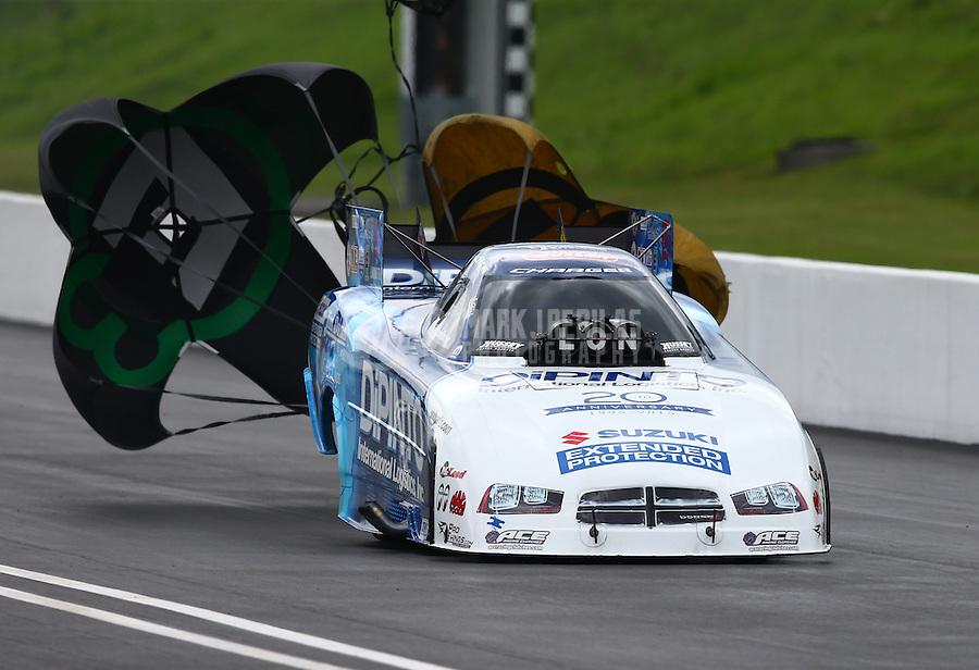 Jun 20, 2015; Bristol, TN, USA; NHRA funny car driver John Hale during qualifying for the Thunder Valley Nationals at Bristol Dragway. Mandatory Credit: Mark J. Rebilas-