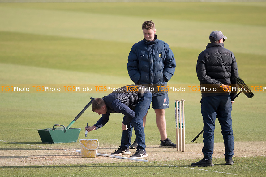 Repairing the wicket between innings during Middlesex CCC vs Lancashire CCC, Specsavers County Championship Division 2 Cricket at Lord's Cricket Ground on 13th April 2019