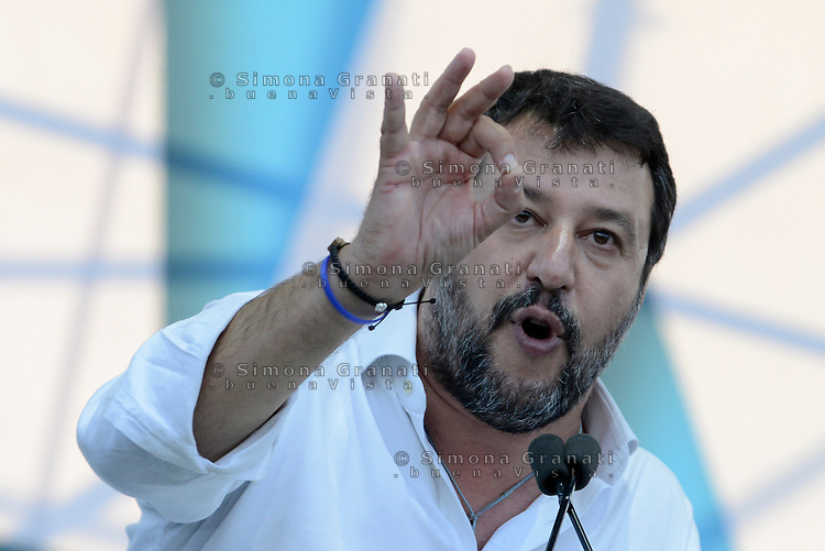 Roma, 19 Ottobre 2019<br /> Matteo Salvini.<br /> Orgoglio italiano, manifestazione della Lega e del centro destra a San Giovanni, contri il governo