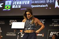 Nova York, EUA, 01.10.2019 - UFC-NOVA YORK - Brasileira Jennifer Maia durante pesagem UFC 244no Madsion Square Garden na cidade de Nova York nesta sexta-feira, 01. A luta acontece no sábado 02. (Foto: Vanessa Carvalho/Brazil Photo Press/Folhapress)