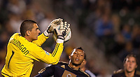 Philadelphia Union goal keep Faryd Mondragon (1) (with a flying save. The LA Galaxy defeated the Philadelphia Union 1-0 at Home Depot Center stadium in Carson, California on  April  2, 2011....