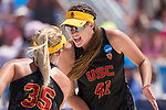 GULF SHORES, AL - MAY 07: Terese Cannon (41) and Nicolette Martin (35) of the University of Southern California celebrate winning a point against Pepperdine University during the Division I Women's Beach Volleyball Championship held at Gulf Place on May 7, 2017 in Gulf Shores, Alabama. The University of Southern California defeated Pepperdine 3-2 to claim the national championship. (Photo by Stephen Nowland/NCAA Photos via Getty Images)