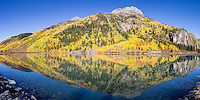 Hayden Mountain reflection in the still waters of Crystal Lake. This gem can be found on Red Mountain Pass south of Ouray Colorado.<br />