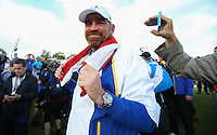 Big smile from Thomas Bjorn (EUR) on the last during Sunday's Singles at the 2014 Ryder Cup from Gleneagles, Perthshire, Scotland. Picture:  David Lloyd / www.golffile.ie