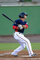 Second baseman Mike Gilmartin (8) of the Potomac Nationals bats in a game against the Myrtle Beach Pelicans on Monday, June 24, 2013, at G. Richard Pfitzner Stadium in Woodbridge, Virginia. Myrtle Beach won, 3-2. (Tom Priddy/Four Seam Images)