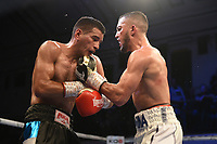 Michael McKinson (white shorts) defeats Luis Alberto Veron during a Boxing Show at York Hall on 9th November 2019