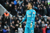 Martin Dubravka of Newcastle United celebrates at the final whistle during Newcastle United vs Manchester United, Premier League Football at St. James' Park on 11th February 2018