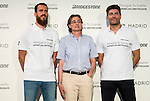 "Philadelphia 76ers basketball player Sergio Rodriguez, acting mayor Marta Higueras and Managing Director of Bridgestone Mark Tejedor during the event ""Reta a tu idolo"" at Plaza Mayor in Madrid. September 12, Spain. 2016. (ALTERPHOTOS/BorjaB.Hojas)"