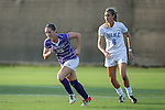 Kelsey Perrell (29) of the High Point Panthers and Lizzy Raben (6) of the Duke Blue Devils during first half action at Koskinen Stadium on September 11, 2016 in Durham, North Carolina.  The Blue Devils defeated the Panthers 4-1.   (Brian Westerholt/Sports On Film)
