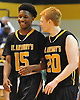 Josh Nicholas #15 of St. Anthony's, left, and James Walsh #20 react as their team closes in on a 73-54 win over Chaminade in the NSCHSAA varsity boys basketball semifinals at LIU Post on Sunday, Feb. 28, 2016.