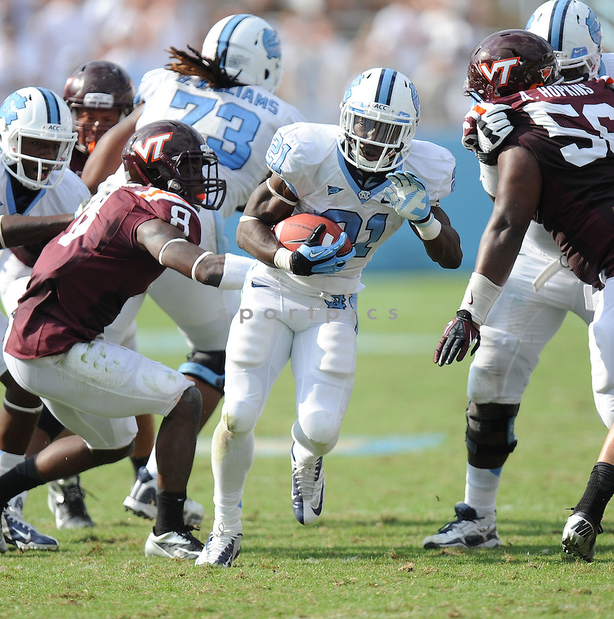 North Carolina Tarheels Romar Morris (21) in action during a game against Virginia Tech on October 6, 2012 at Kenan Memorial Stadium in Chapel Hill, NC. North Carolina beat Virginia Tech 48-34.