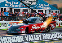 Jun 15, 2018; Bristol, TN, USA; NHRA funny car driver Cruz Pedregon during qualifying for the Thunder Valley Nationals at Bristol Dragway. Mandatory Credit: Mark J. Rebilas-USA TODAY Sports