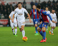 (L-R) Jack Cork of Swansea against Damien Delaney of Crystal Palace during the Barclays Premier League match between Swansea City and Crystal Palace at the Liberty Stadium, Swansea on February 06 2016