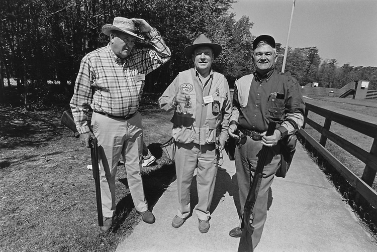 Rep. Robert Freeman Smith, R-Ore., Former Rep. Richard T. Schulze, R-Penn., and Former Rep. William K. Brewster, D-Okla., at Great Congressional Shootout in May 1997. (Photo by Laura Patterson/CQ Roll Call via Getty Images)