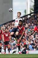 Eric Dier of Tottenham Hotspur beats Lys Mousset of Bournemouth in the air during the Premier League match between Tottenham Hotspur and Bournemouth at White Hart Lane, London, England on 15 April 2017. Photo by Mark  Hawkins / PRiME Media Images.