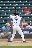 Nolan Early (15) of the Winston-Salem Dash at bat against the Myrtle Beach Pelicans at BB&T Ballpark on May 10, 2015 in Winston-Salem, North Carolina.  The Pelicans defeated the Dash 4-3.  (Brian Westerholt/Four Seam Images)