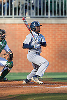 Ryan Chandler (6) of the Rice Owls follows through on his swing against the Charlotte 49ers at Hayes Stadium on March 6, 2015 in Charlotte, North Carolina.  The Owls defeated the 49ers 4-2.  (Brian Westerholt/Four Seam Images)