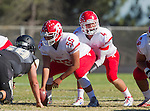 Palos Verdes, CA 10/24/14 - Michael Rubio (Redondo Union #55) an dPreston Faecher (Redondo Union #4)in action during the Redondo Union - Palos Verdes Peninsula CIF Varsity football game at Peninsula High School.