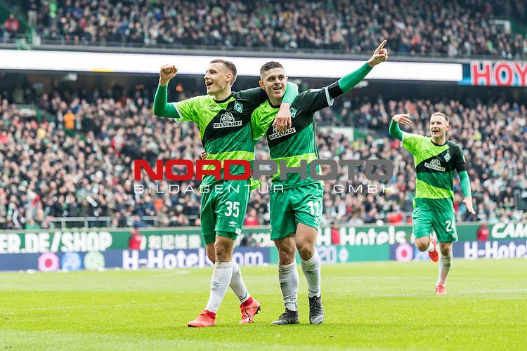 10.02.2019, Weserstadion, Bremen, GER, 1.FBL, Werder Bremen vs FC Augsburg<br /> <br /> DFL REGULATIONS PROHIBIT ANY USE OF PHOTOGRAPHS AS IMAGE SEQUENCES AND/OR QUASI-VIDEO.<br /> <br /> im Bild / picture shows<br /> Milot Rashica (Werder Bremen #11) bejubelt seinen Treffer zum 3:0 mit Maximilian Eggestein (Werder Bremen #35) und Teamkollegen, <br /> <br /> Foto &copy; nordphoto / Ewert