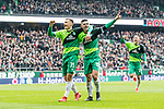 10.02.2019, Weserstadion, Bremen, GER, 1.FBL, Werder Bremen vs FC Augsburg<br /> <br /> DFL REGULATIONS PROHIBIT ANY USE OF PHOTOGRAPHS AS IMAGE SEQUENCES AND/OR QUASI-VIDEO.<br /> <br /> im Bild / picture shows<br /> Milot Rashica (Werder Bremen #11) bejubelt seinen Treffer zum 3:0 mit Maximilian Eggestein (Werder Bremen #35) und Teamkollegen, <br /> <br /> Foto © nordphoto / Ewert